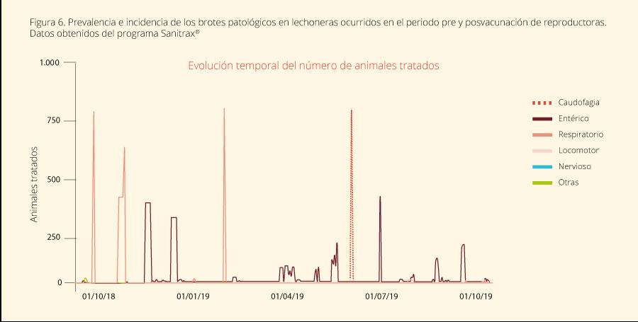 Figura 6. Prevalencia e incidencia de los brotes patológicos en lechoneras ocurridos en el periodo pre y posvacunación de reproductoras. Datos obtenidos del programa Sanitrax®
