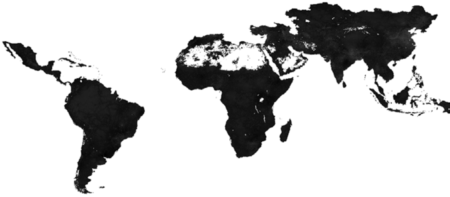 Figura 3. Los puntos calientes de Resistencia Antimicrobiana (RAM) representan la proporción de antimicrobianos utilizados en cada ubicación (píxel) con una resistencia superior al 50% (P50). Fuente: Van Boeckel & Pires, Global Trends in Antimicrobial Resistance in Animals in Low- and Middle-Income Countries, Science (2019).