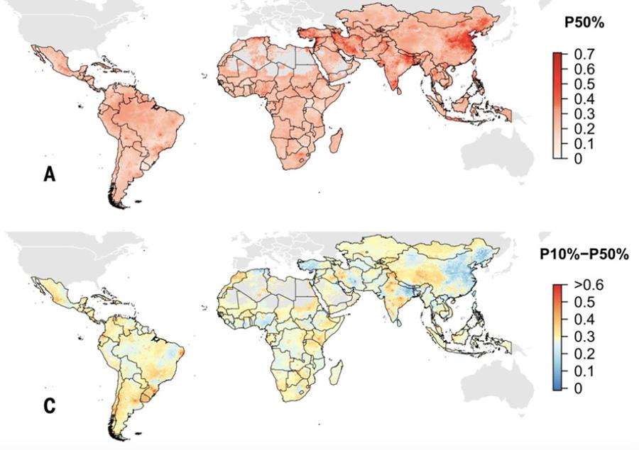 Figura 4. Distribución geográfica de la resistencia a los antimicrobianos en LIMC. (A) P50, la proporción de compuestos antimicrobianos con resistencia superior al 50%. (C) Diferencia en la proporción de antimicrobianos con 10% de resistencia y 50% de resistencia. Las áreas rojas indican nuevos puntos calientes de resistencia a múltiples fármacos; las áreas azules son puntos de acceso establecidos (Fuente: Resistancebank.org).